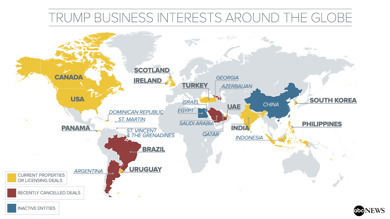 A Look Inside Trumps Global Business Interests ABC News - Trump towers in the us map