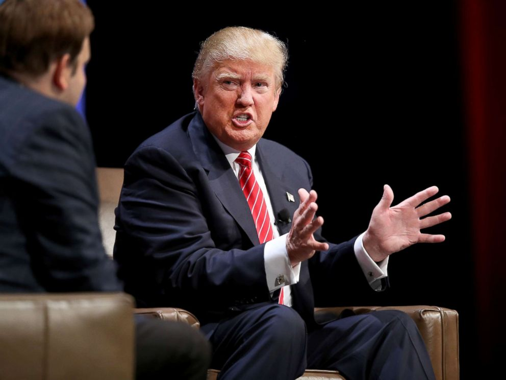 PHOTO: Republican presidential hopeful Donald Trump fields questions from Frank Luntz at the Family Leadership Summit at Stephens Auditorium, July 18, 2015, in Ames, Iowa.