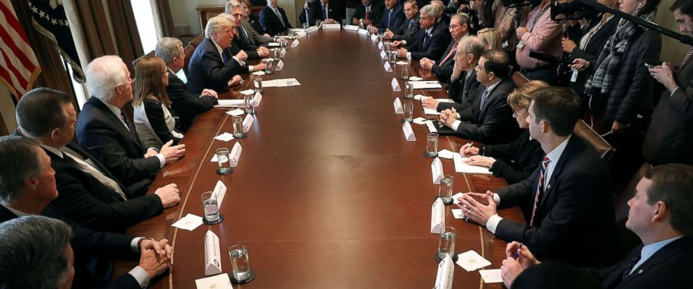 PHOTO: President Donald Trump presides over a meeting about immigration with Republican and Democrat members of Congress in the Cabinet Room at the White House, Jan. 9, 2018, in Washington.