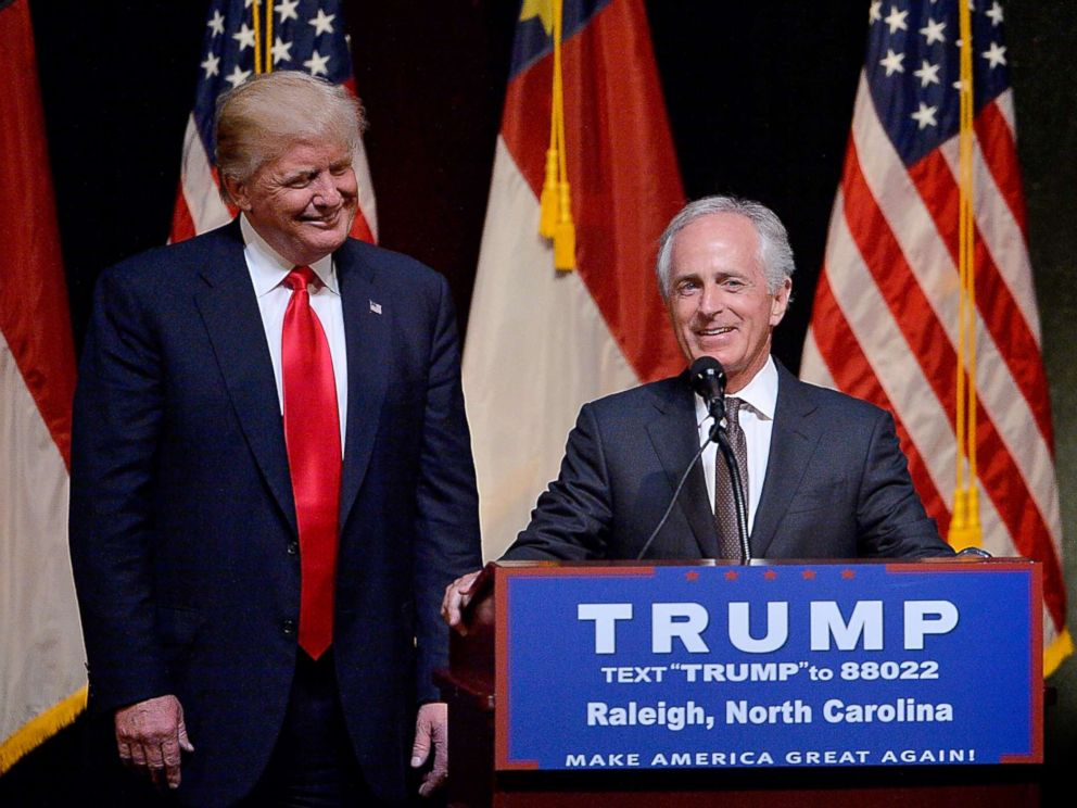 PHOTO: Presumptive Republican presidential nominee Donald Trump stands next to Sen. Bob Corker (R-TN) during a campaign event at the Duke Energy Center for the Performing Arts, July 5, 2016, in Raleigh, N.C.