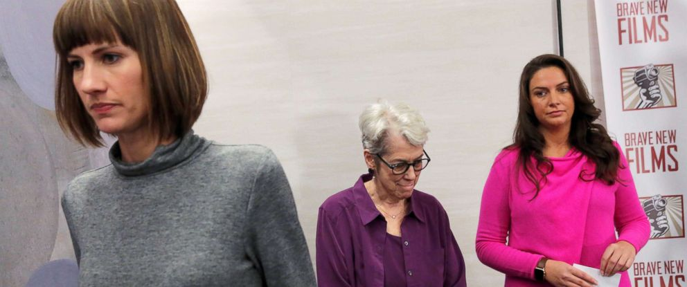 """Rachel Crooks, Jessica Leeds and Samantha Holvey exit a news conference for the film """"16 Women and Donald Trump"""" which focuses on women who have publicly accused President Trump of sexual misconduct, in New York City."""