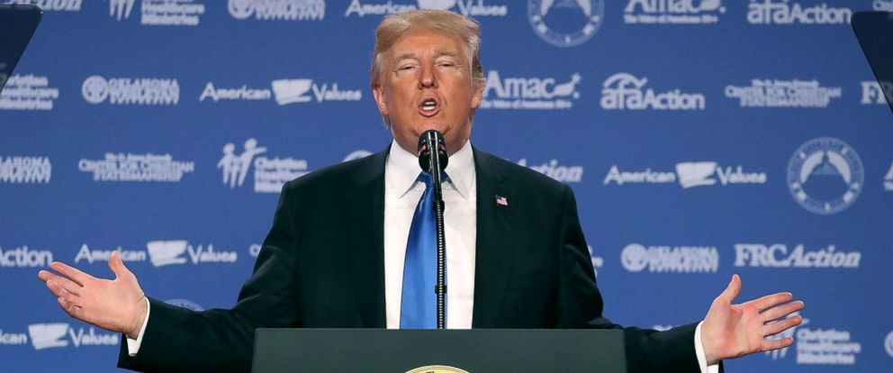 PHOTO: President Donald Trump speaks during the annual Family Research Councils Values Voter Summit at the Omni Shorham Hotel, Oct. 13, 2017, in Washington, DC.