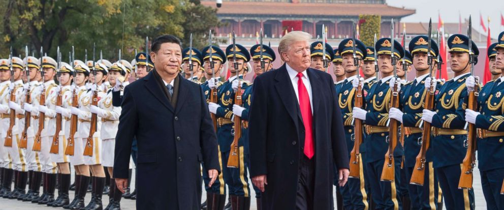 PHOTO: Chinese President Xi Jinping holds a grand ceremony to welcome President Donald Trump at the square outside the east gate of the Great Hall of the People, in Beijing, Nov. 9, 2017.