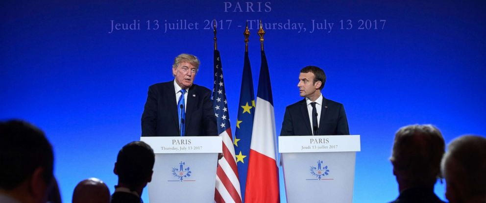 PHOTO: President Donald Trump and French President Emmanuel Macron speak at a press conference in Paris, July 13, 2017.