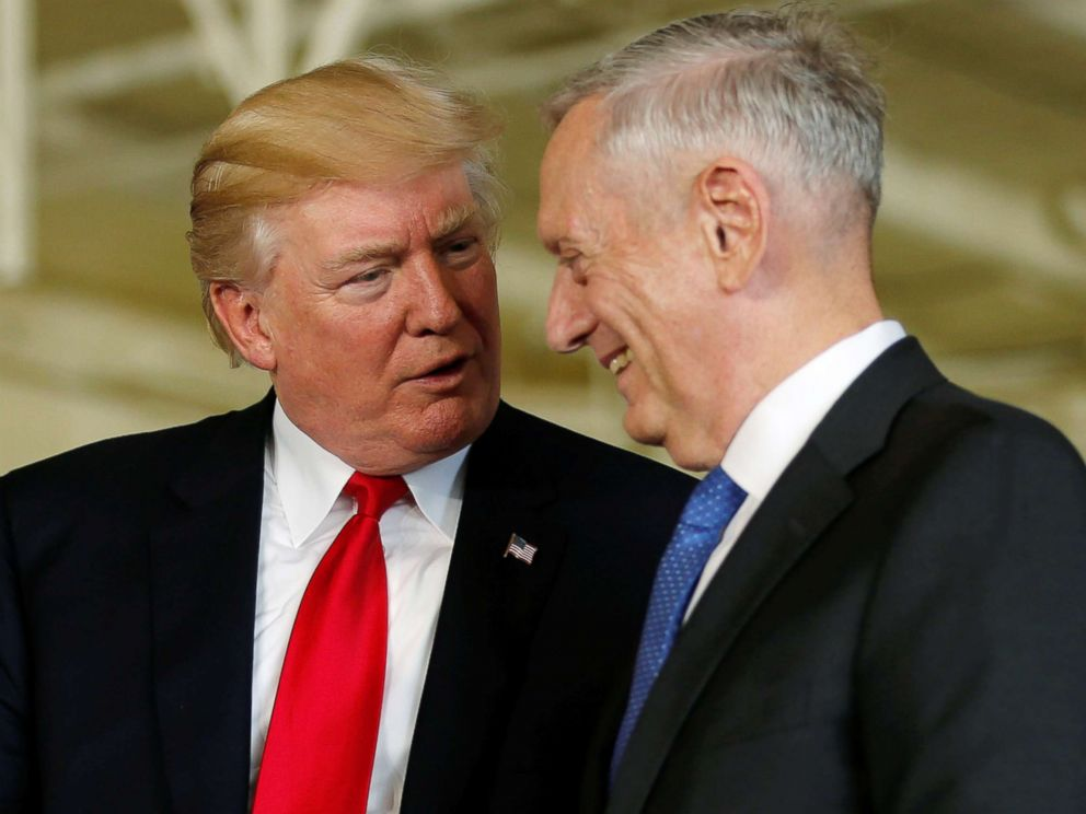 PHOTO: President Donald Trump is introduced by Defense Secretary James Mattis during the commissioning ceremony of the aircraft carrier USS Gerald R. Ford at Naval Station Norfolk in Norfolk, Virginia, July 22, 2017.