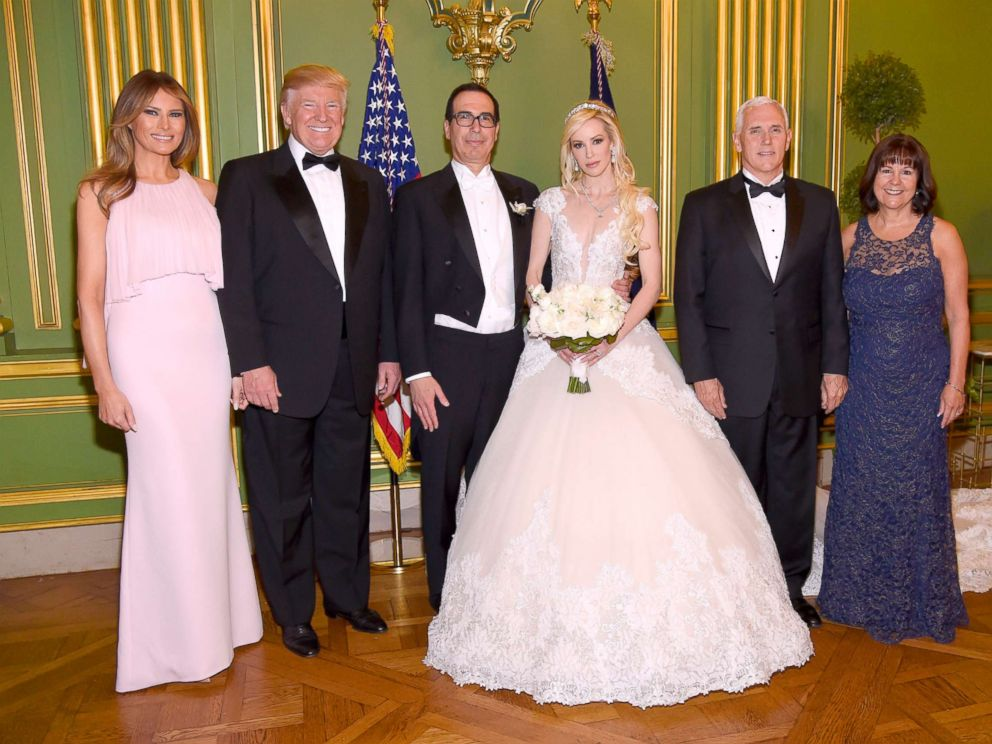 Trump Pres. Donald Trump Secretary of the Treasury Steven Mnuchin Louise Linton VP Mike Pence and Second lady Karen Pence at the wedding of Mnuchin and Linton