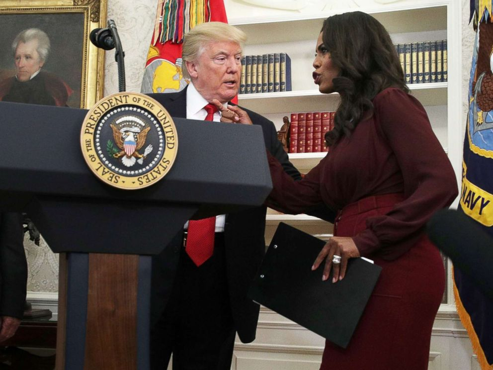 PHOTO: President Donald Trump listens to Director of Communications for the White House Public Liaison Office Omarosa Manigault during an event in the Oval Office of the White House in this Oct. 24, 2017 file photo in Washington.