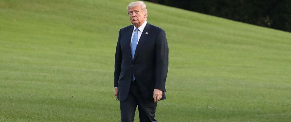 PHOTO: President Donald Trump walks toward the White House after arriving on Marine One in this Sept. 27, 2017 file photo in Washington.