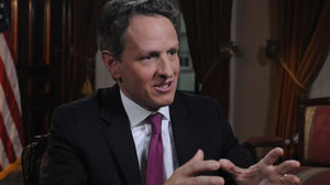 PHOTO: Timothy Geithner on This Week with Christiane Amanpour
