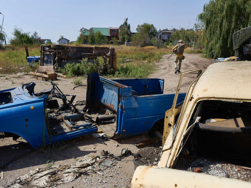 PHOTO: A Ukrainian serviceman walks on the frontline, Sept. 09, 2017 in Shyrokyne, Ukraine. The sea side resort has been reduced to rubble after two and half years of artillery fire between Russia-backed separatists and Ukrainian forces.