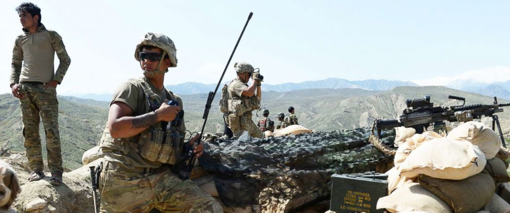 PHOTO: U.S. soldiers take up positions during an ongoing operation against Islamic State militants in Achin district of Nangarhar province, Afghanistan, on April 11, 2017.