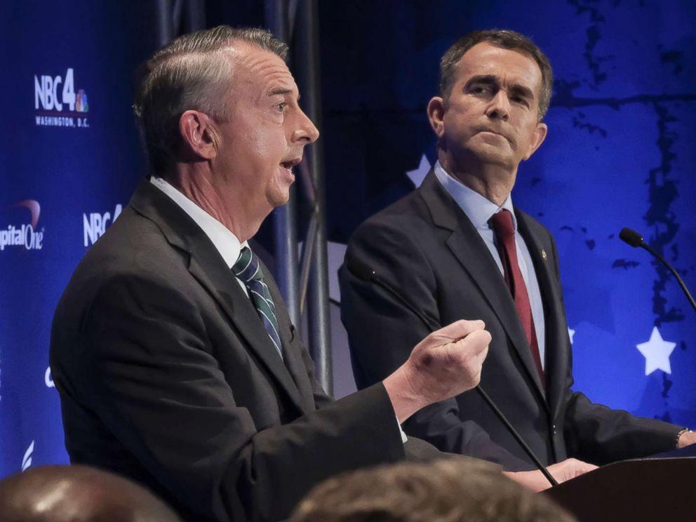 PHOTO: In this Sept. 19, 2017, file photo, Gubernatorial candidates Republican Ed Gillespie, left, and Democrat Lt. Gov. Ralph Northam debate in McLean, Va.