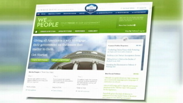 "VIDEO: Thousands of people from several states sign their names to WhiteHouse.gov ""We the People"" site."