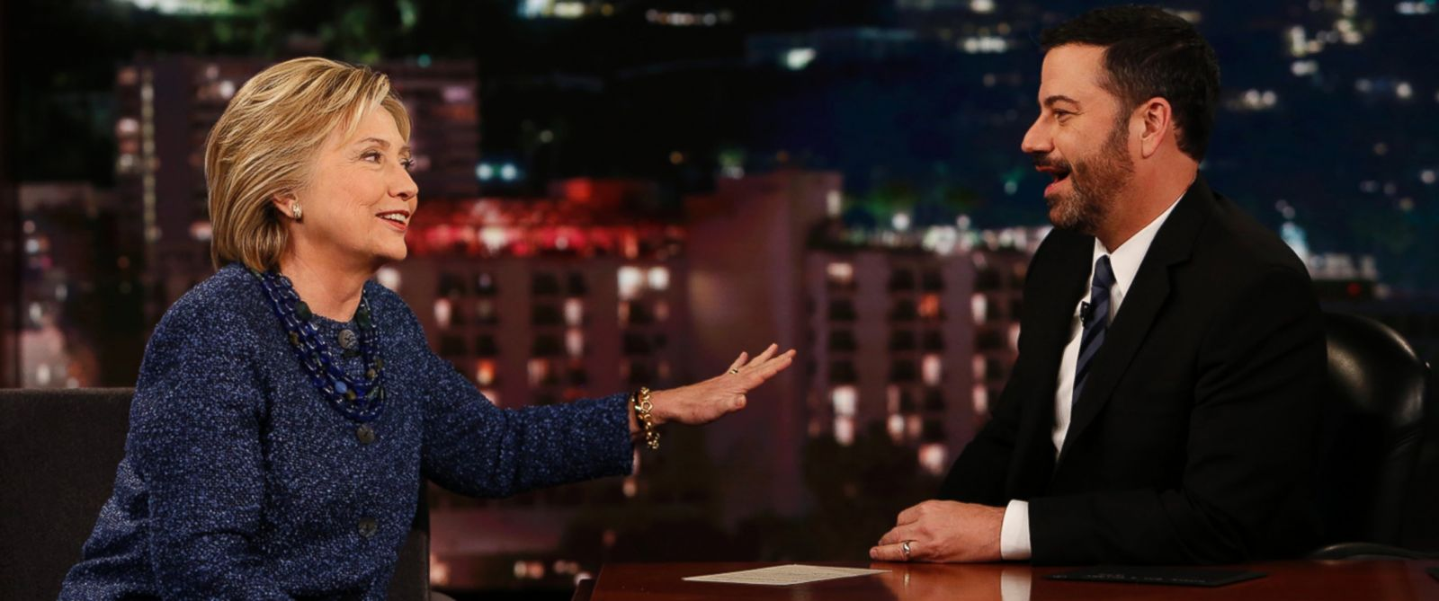 "PHOTO: Hillary Clinton speaks to host Jimmy Kimmel on ""Jimmy Kimmel Live,"" Nov. 5, 2015."