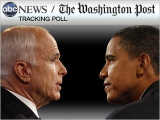 Graphic pic image of Sens. Barack Obama and John McCain in the ABC News/Washington Post daily tracking poll.