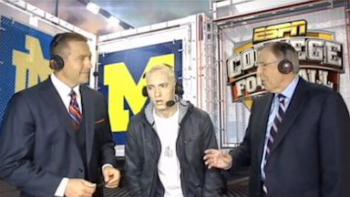 PHOTO: Eminem Makes an Unexpected Appearance on ESPNs Saturday Night Football