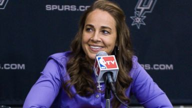 PHOTO: WNBA star Becky Hammon takes questions from the media at the San Antonio Spurs practice facility after being introduced as an assistant coach with the team, Aug. 5, 2014 in San Antonio.