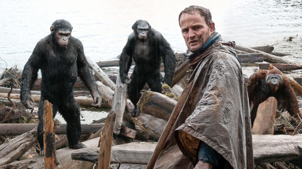 "PHOTO: Jason Clarke, as Malcolm, foreground, and, Andy Serkis, as Caesar; Toby Kebbell, as Koba; and Karin Konoval, as Maurice; in a scene from the film, ""Dawn of the Planet of the Apes."""