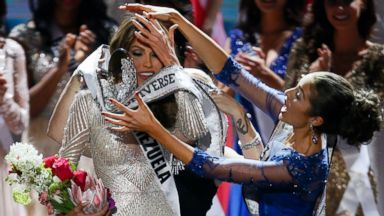 PHOTO: Miss Universe 2012 Olivia Culpo, from the United States, right, places the crown on Miss Venezuela Gabriela Isler during the 2013 Miss Universe pageant in Moscow, Russia, on Saturday, Nov. 9, 2013.