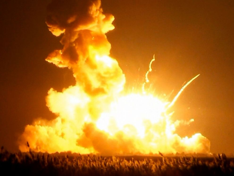 PHOTO: Orbital Sciences Corp.s unmanned rocket is seen blowing up over the launch complex at Wallops Island, Va., just six seconds after liftoff.