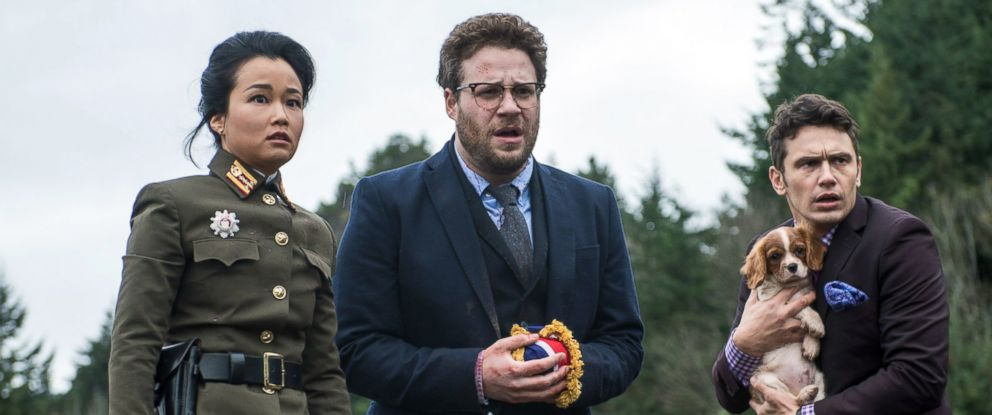 "PHOTO: From left, Diana Bang, Seth Rogen, and James Franco are pictured in ""The Interview."""