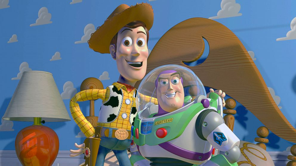 "PHOTO: Disney Pixar shows characters Woody, left, and Buzz Lightyear from the animated film ""Toy Story."