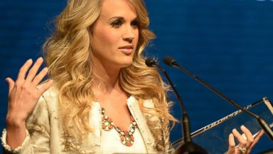 PHOTO: Singer/Songwriter Carrie Underwood receives the Artist Humanitarian Award sponsored by St. Jude Childrens Hospital on and part of 2014 CRS, Feb. 19, 2014 at the Nashville Convention Center in Nashville, Tenn.