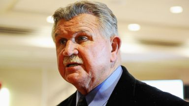 PHOTO: Mike Ditka, former NFL player and coach, and current ESPN analyst, talks with reporters during the ESPN media availability in the Empire West Ballroom, at Super Bowl XLVIII Media Center at the Sheraton New York Times Square, Jan. 28, 2014.