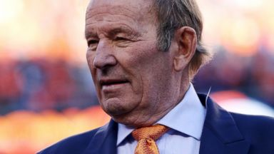 PHOTO: Team owner of the Denver Broncos Pat Bowlen celebrates after they defeated the New England Patriots during the AFC Championship game at Sports Authority Field at Mile High, Jan.19, 2014 in Denver.