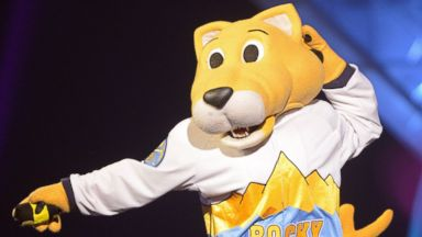PHOTO: Denver Nuggets/NBA mascot Rocky performs onstage at the Third Annual Hall of Game Awards hosted by Cartoon Network at Barker Hangar on Feb. 9, 2013 in Santa Monica, Calif.