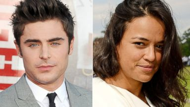 PHOTO: Zac Efron, left, is pictured on April 28, 2014 in Westwood, Calif. Michelle Rodriguez, right, is pictured on June 1, 2014 in Ascot, England.