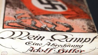 PHOTO: The book Mein Kampf (My Struggle) by Adolf Hitler is pictured during a press preview of Hitler and the Germans Nation and Crime at the German Historical Museum in Berlin, Oct. 13, 2010.