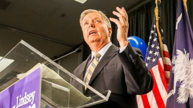 PHOTO: Sen. Lindsey Graham speaks after his victory in a primary election in Columbia, S.C., June 10, 2014.