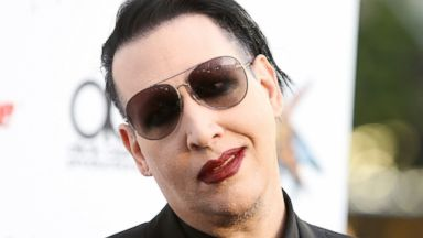 PHOTO: Marilyn Manson arrives at the 6th Annual Revolver Golden Gods Award Show held at Club Nokia, April 23, 2014, in Los Angeles.