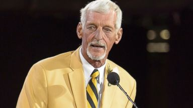 PHOTO: Former NFL punter Ray Guy gives his speech during the NFL Class of 2014 Pro Football Hall of Fame Enshrinement Ceremony at Fawcett Stadium on Aug. 2, 2014 in Canton, Ohio.