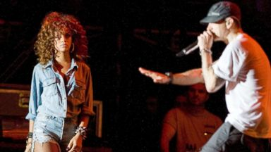 PHOTO: Rihanna and Eminem headline the V Festival at Hylands Park, Aug. 21, 2011. in Chelmsford, England.