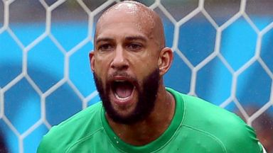 PHOTO: Tim Howard of the United States in action during the 2014 FIFA World Cup Brazil group G match between the United States and Germany at Arena Pernambuco, June 26, 2014, in Recife, Brazil.