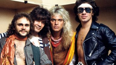 PHOTO: Van Halen, from left, Michael Anthony, Eddie Van Halen, David Lee Roth and Alex Van Halen, pose backstage.