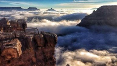 "PHOTO: A picture of the Grand Canyon during an ""inversion,"" where clouds fill the canyon"