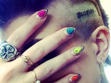 PHOTO: Kelly Osbourne shared this Instagram image of her new tatoo and nails, captioned; Thank you @mayayapple I love my manicure! You are the best!, June 29, 2014.