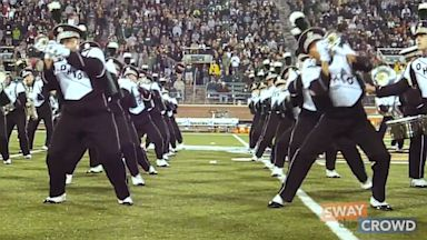"""PHOTO: The Ohio University marching band covers Ylvis """"The Fox,"""" Sept. 15, 2013."""