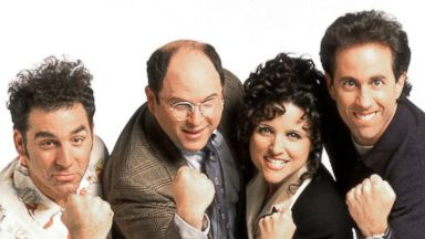 "PHOTO: The cast of ""Seinfeld,"" pictured from left are; Michael Richards as Kramer, Jason Alexander as George Costanza, Julia Louis-Dreyfus as Elaine Benes and Jerry Seinfeld as Jerry Seinfeld; is shown in this undated handout photo."