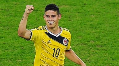 PHOTO: James Rodriguez of Colombia celebrates scoring his teams second goal and his second of the game during the 2014 FIFA World Cup Brazil, June 28, 2014 in Rio de Janeiro, Brazil.