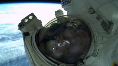 "PHOTO: Rick Mastracchio posted this image to his Twitter on April 23, 2014 with the caption, ""An EVA selfie. The space suit makes it very difficult to get a good selfie. I tried several today."""