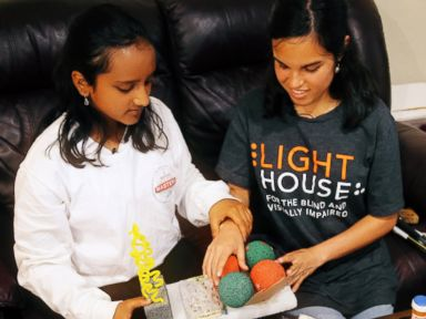 PHOTO: Hari Bhimaraju, 12, describes her periodic table tool The Elementor at her home in Cupertino, California.
