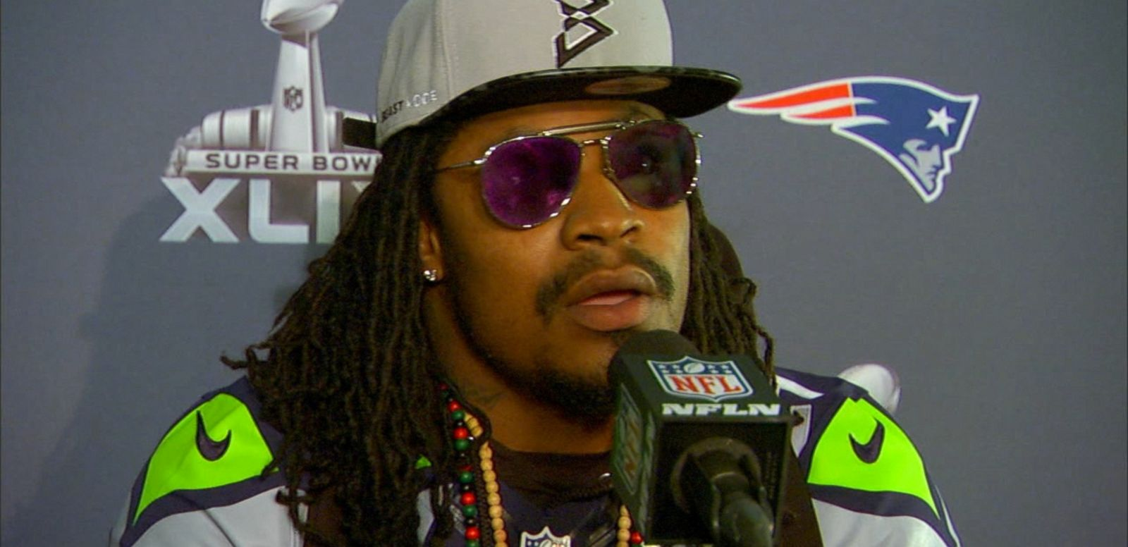 VIDEO: Marshawn Lynch addressed the media with a new catchphrase that got a lot of use.