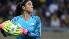 U.S. womens goalkeeper Hope Solo was suspended Wednesday for six months by U.S. Soccer for disparaging comments about Sweden following the Americans early departure from the Rio Olympics.