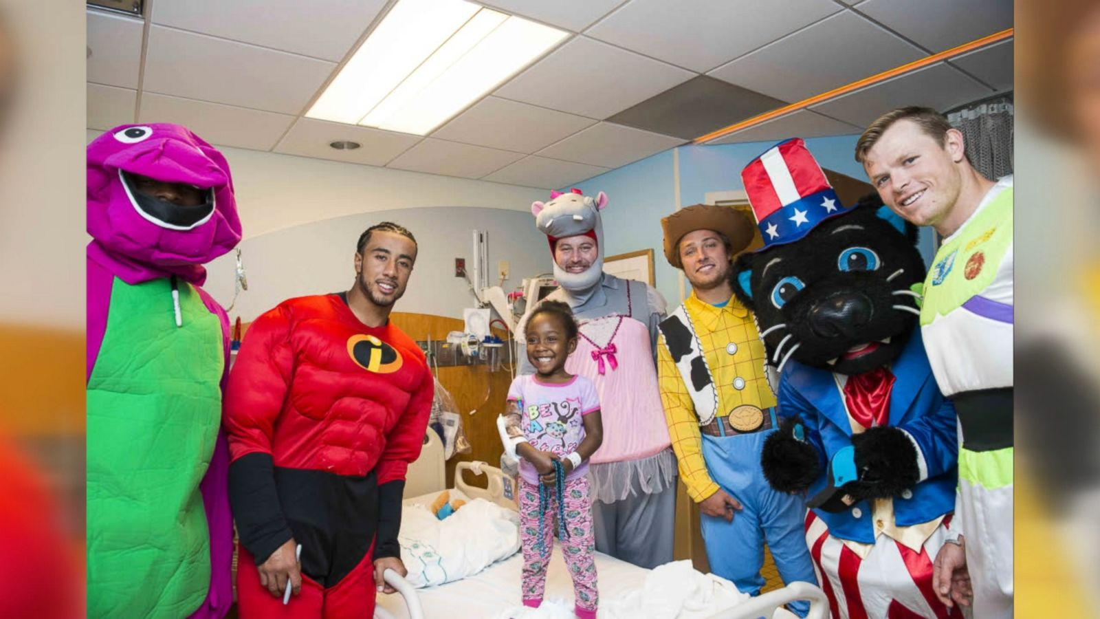 Rookies from the Carolina Panthers dressed as Captain America, Mr. Incredible and more.