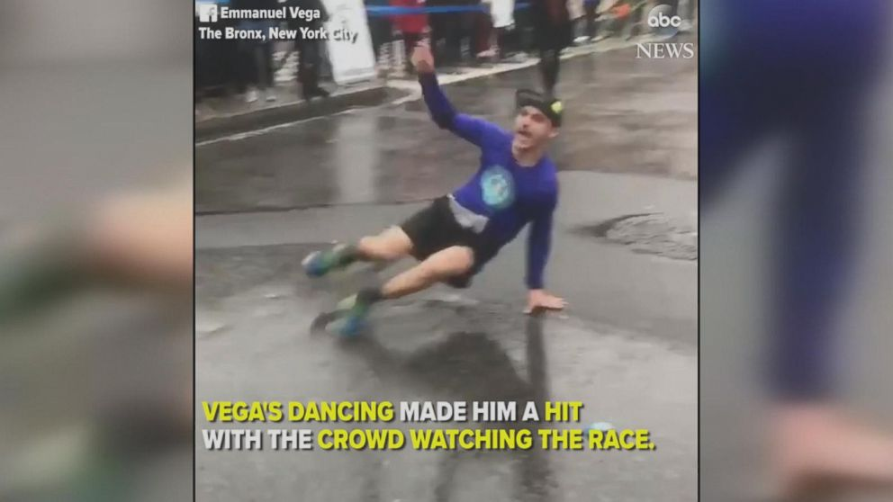 NYC marathoner busts a move in the middle of race