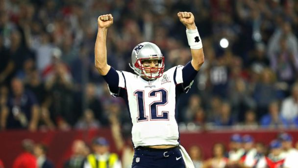 PHOTO: New England Patriots quarterback Tom Brady celebrates after leading his team to a touchdown during the NFL Super Bowl LI against the Atlanta Falcons, Feb. 5, 2017, in Houston.